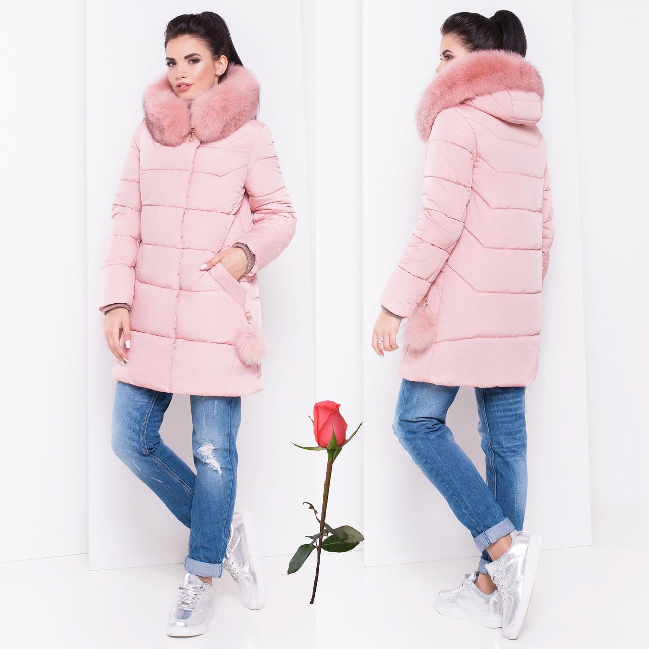 Зимняя женская Куртка-Пуховик  М 16979  Розовый