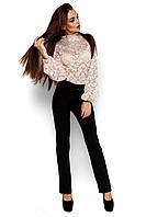 Женская блузка из гипюра, бежевая, размер 42-48