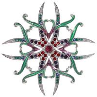 """Брошь """"Орден Лилии"""" с кристаллами Swarovski, покрытая родием  (j615f650)"""