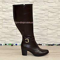 Сапоги женские коричневые кожаные, устойчивый каблук. Батал., фото 1