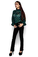 Женская блузка из гипюра, зелёный, размер 42-48