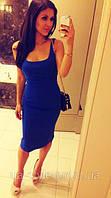Платье мини трикотажное синего цвета