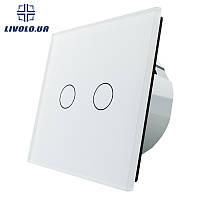 Умный радиоуправляемый двух сенсорный проходной выключатель Livolo | белый