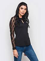 Жіноча чорна блузка з гіпюровими рукавами Kandis