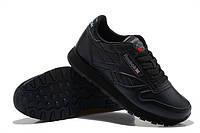 Кроссовки Reebok Classic Leather Black Черные мужские
