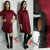 Женское платье свободного кроя с кружевом, 3 цвета
