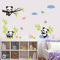 """Декоративные наклейки для детского сада, наклейка в детскую, наклейки на шкаф """"три панды"""" лист 90*30см"""
