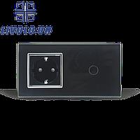 Умный радиоуправляемый выключатель с розеткой   черный