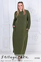Платье в пол Капюшон большого размера хаки
