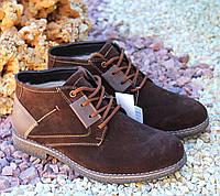 Зимние мужские ботинки натур замша, цигейка, фото 1