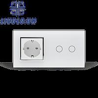 Умный радиоуправляемый выключатель 2 сенсора с розеткой   белый
