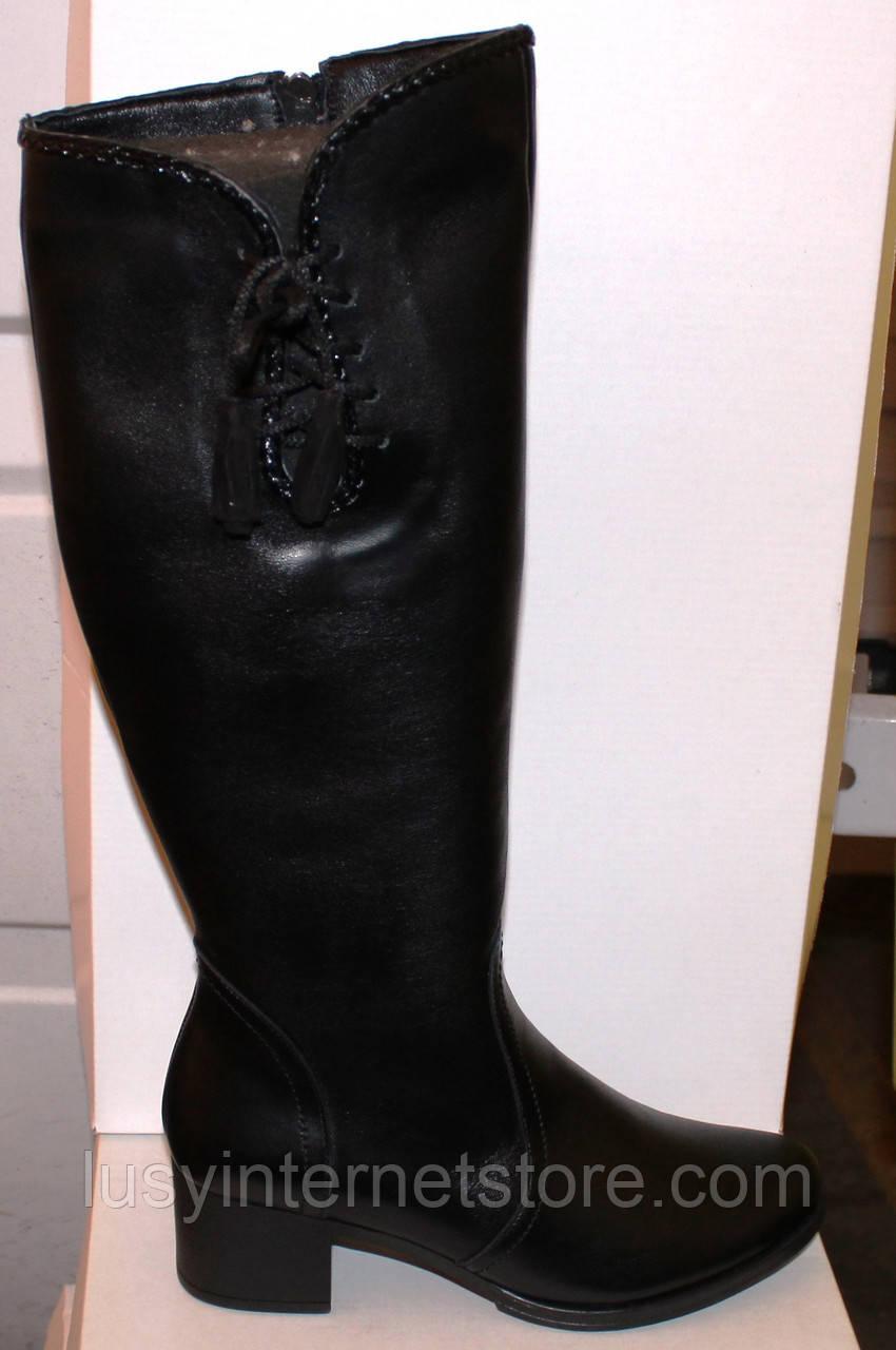 Высокие кожаные женские сапоги на каблуке, сапоги от производителя модель БМ747К