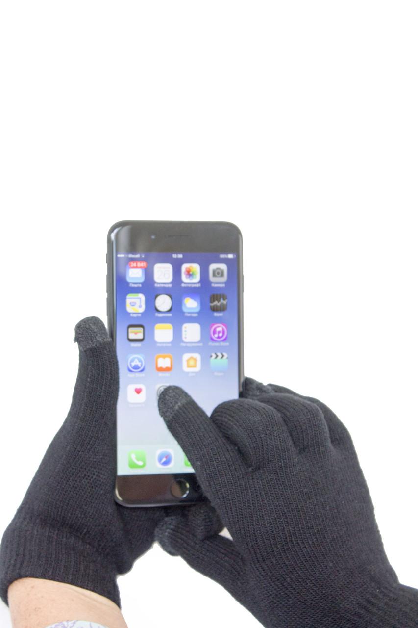Трикотажные перчатки Корона вязаные Сенсорные7076-1 черные