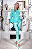 Модный женский костюм свитер травка и брюки джинс-стрейч