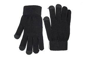 Трикотажные перчатки Корона вязаные Сенсорные7076-1 черные, фото 2