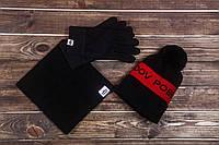 Шапка зимняя мужская черная хомут перчатки комплект