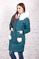 Зимняя женская куртка с белым мехом