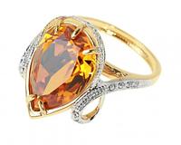 """Кольцо """"Миндаль"""" с кристаллами Swarovski, покрытое золотом с родием (а582q025)"""