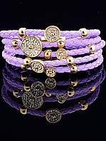 Браслет косичка широкий фиолетовый