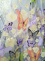 Тюль c бабочками сиреневыми