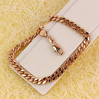 R9-0635 - Браслет розовая позолота Панцирное плетение с насечками, 20.5 см