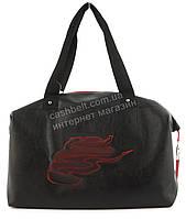 Спортивная  стильная женская сумка для тренировок с эко кожи art. 8 (101402) черная Украина