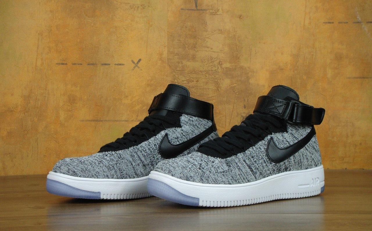 hot sale online dd814 00f6f Кроссовки мужские Nike Air Force 1 Ultra Flyknit High 30389 черно-серые
