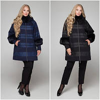 Зимнее женское пальто с меховой отделкой №650 (р.48-72)