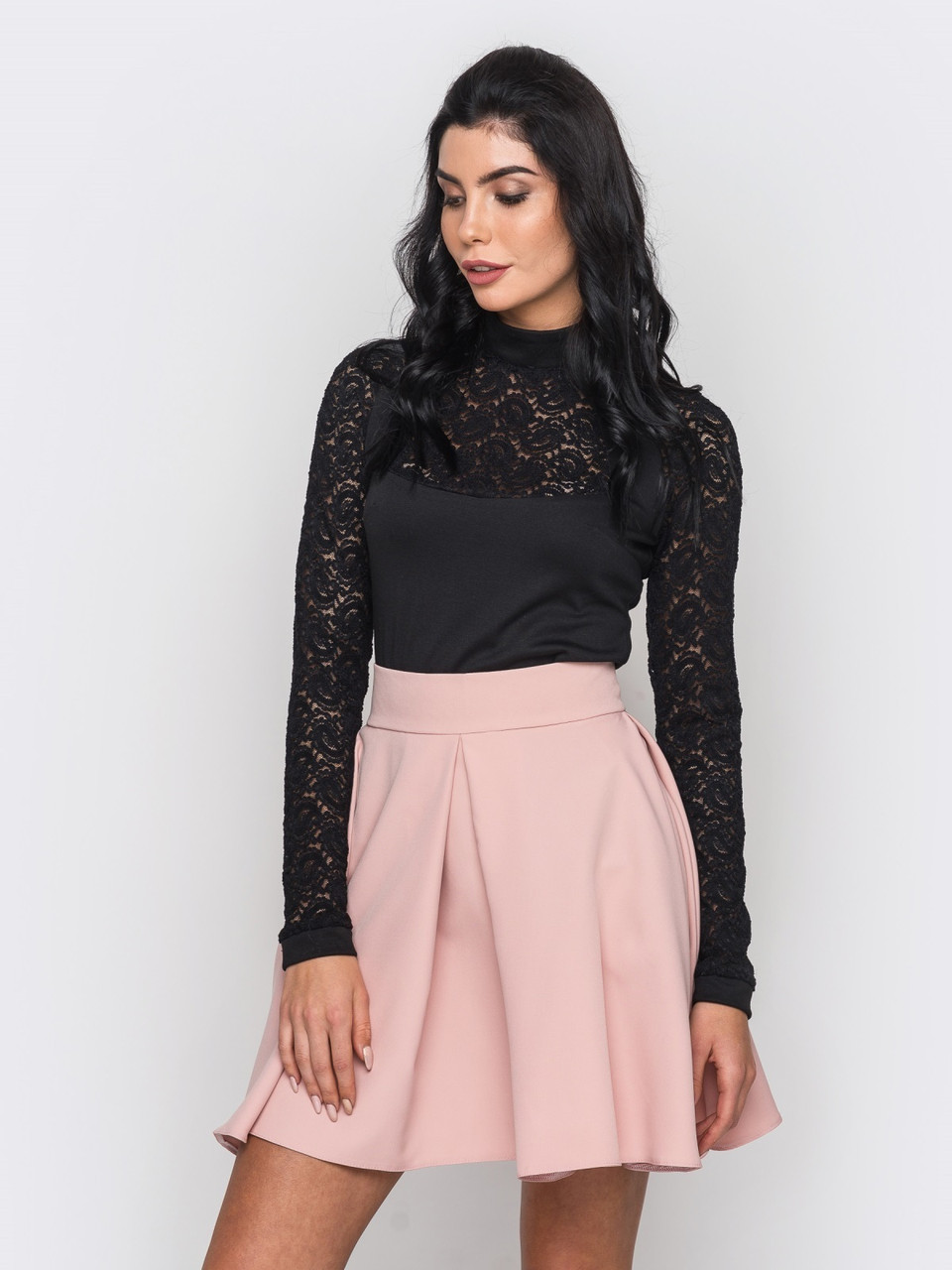 S   Молодіжна чорна блузка з гіпюровими рукавами Lilu