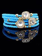 Браслет плетеный женский голубой