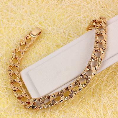 R9-0585 - Позолоченный браслет Панцирное плетение с рисунком, 20.5 см