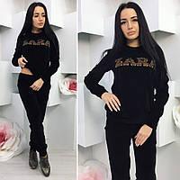 Костюм женский спортивный велюровый черный 15342