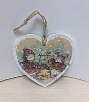 """Деревянная подвеска, открытка """"Сердечко со снеговиками"""". В НАЛИЧИИ 2 ШТ"""