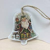 """Деревянная подвеска, открытка """"Колокольчик с Дедом Морозом"""". Есть 2 шт"""