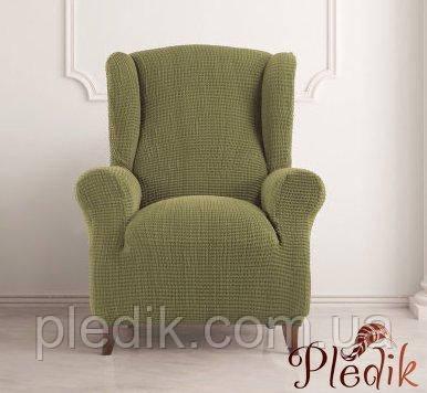 Чехол на кресло натяжной Испания, Glamour Green Гламур оливковый