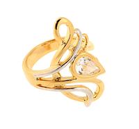 """Кольцо """"Виджая"""" с фианитом, покрытое золотом (s020p0a0)"""