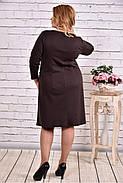 Женское платье из трикотажа с карманами 0617 цвет шоколад / размер 42-74 / большие размеры, фото 4