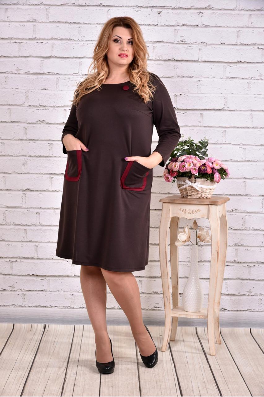 Женское платье из трикотажа с карманами 0617 цвет шоколад / размер 42-74 / большие размеры