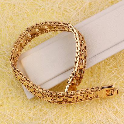 001-0590 - Оригинальный позолоченный браслет комбинированного плетения, 20 см
