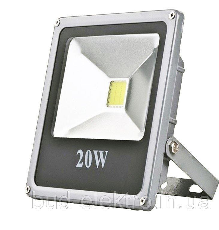 Прожектор Уличный Светодиодный 20W 12V DC 1300Lm 6500К Slim