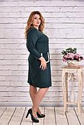 Женское платье из трикотажа с карманами 0617 цвет зеленый / размер 42-74 / большие размеры, фото 2