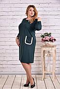 Женское платье из трикотажа с карманами 0617 цвет зеленый / размер 42-74 / большие размеры, фото 3