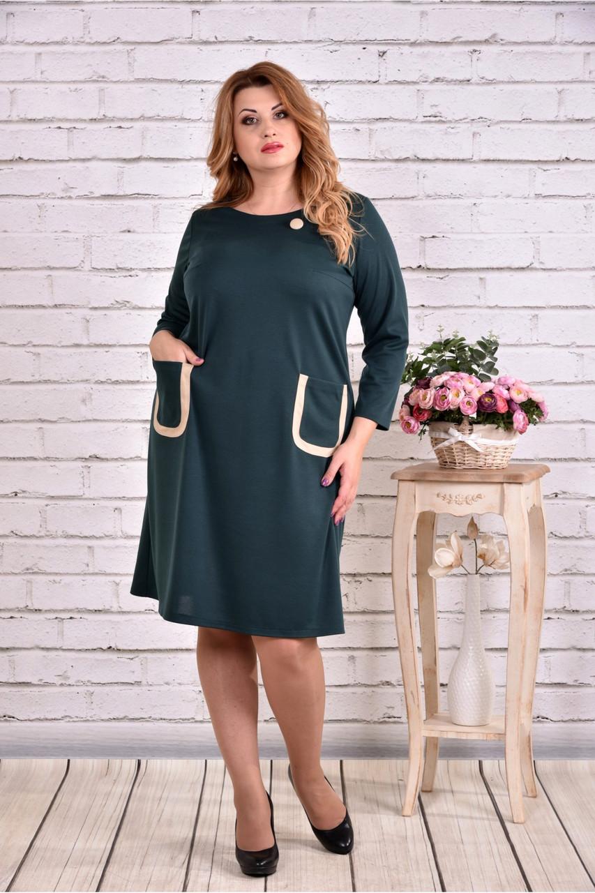 Женское платье из трикотажа с карманами 0617 цвет зеленый / размер 42-74 / большие размеры