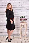 Женское платье из трикотажа с карманами 0617 цвет черный / размер 42-74 / большие размеры, фото 2