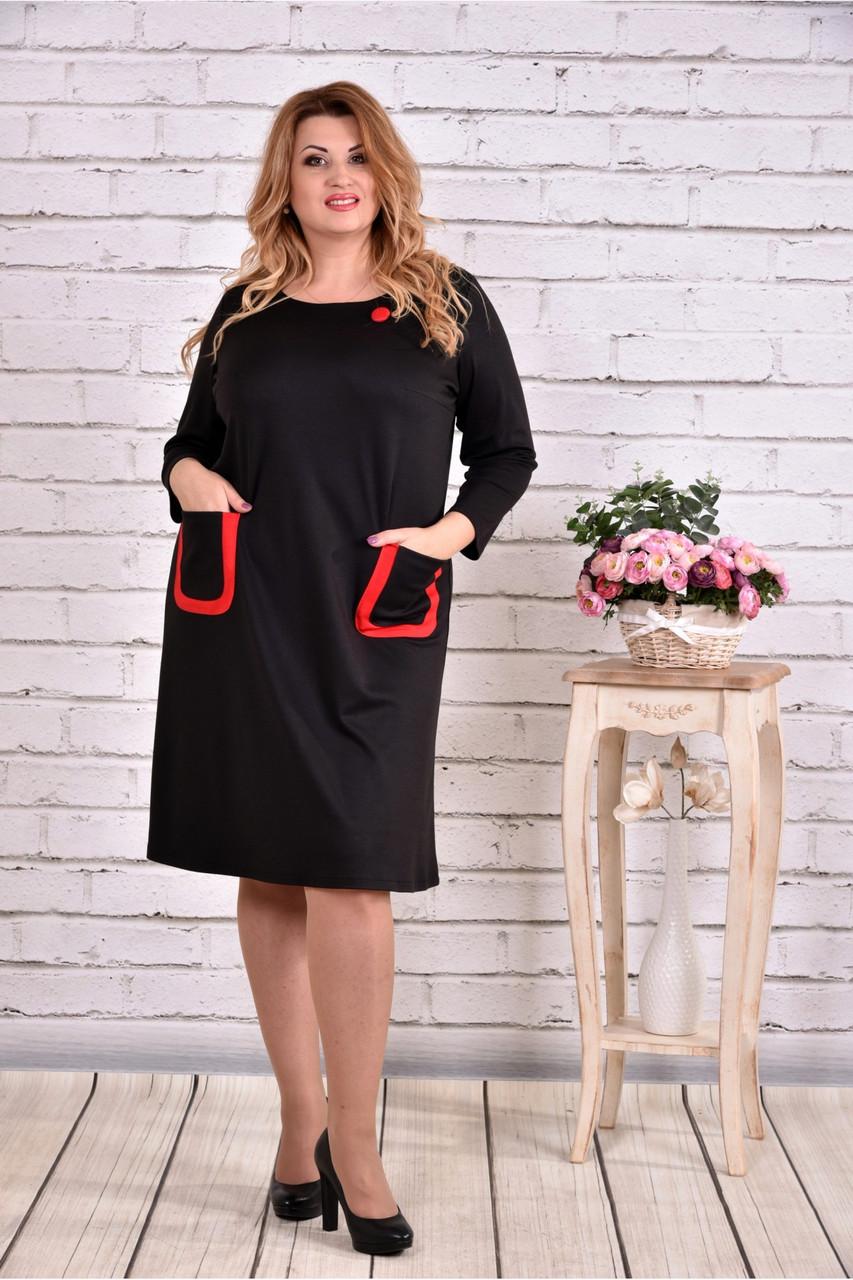 ad24ecdecdfe464 Женское платье из трикотажа с карманами 0617 цвет черный / размер 42-74 /  большие