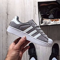 "Кроссовки Adidas Superstar Suede ""Solid Grey/White"""