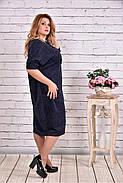 Женское просторное платье из ангоры 0616 цвет синий / размер 42-74 / баталл , фото 2