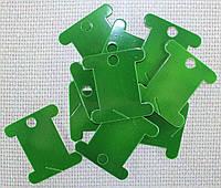 Шпуля картонная.Цвет - зелёный