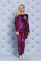 Велюровый костюм туника+лосины бордо