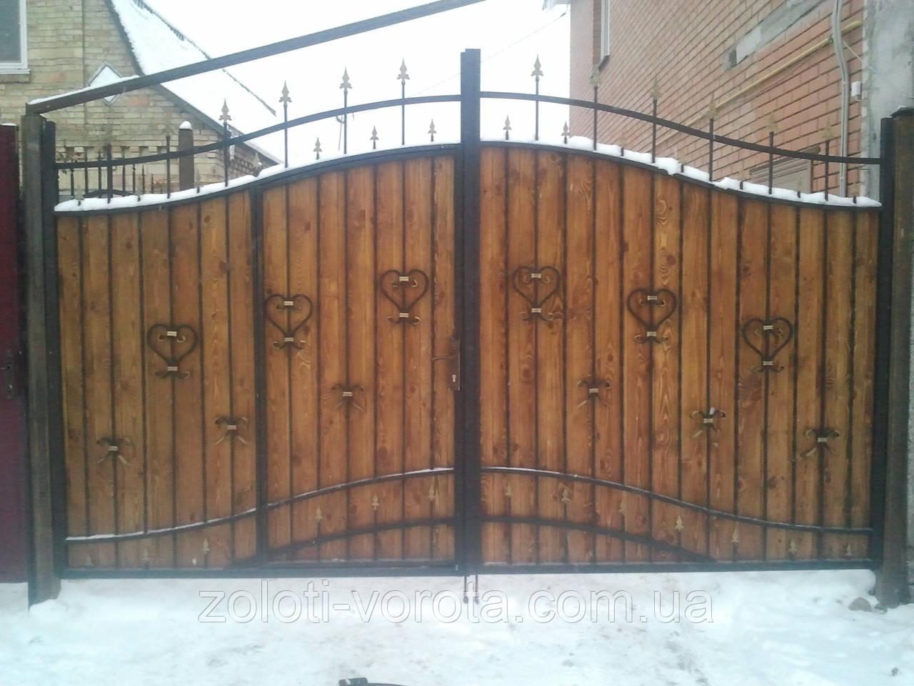 """Кованые ворота со встроенной калиткой """" Престиж 1 """""""